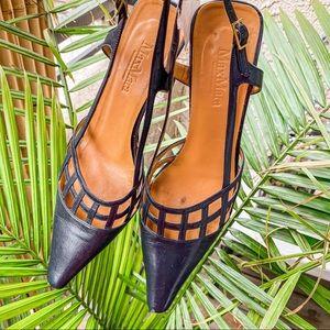 MaxMara navy black slingback kitten heels